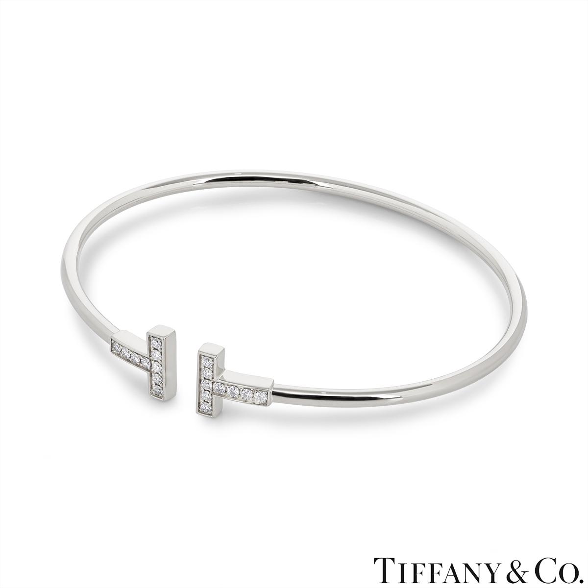 Tiffany & Co. White Gold Tiffany T Diamond Bracelet